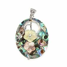 "Oval Hollow Flowers Paua Abalone Shell Pendant Bead 2x1.4"" HY"