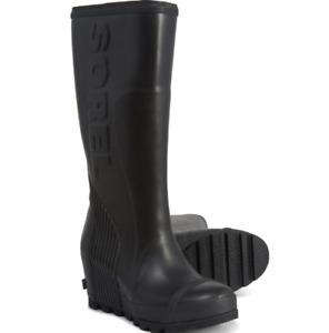 NEW SOREL JOAN RAIN WEDGE TALL BOOTS WATERPROOF WOMENS 10 RAIN BOOTS