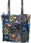 Western Mossy Oak Camo DEER Embroidery Aztec Patchwork TOTE Rag Bag Turquoise
