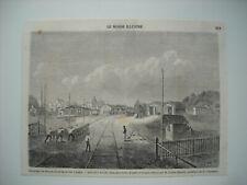 GRAVURE 1860. OUVERTURE DU CHEMIN DE FER DE SEVILLE A CADIX. ARRIVEE A SEVILLE.