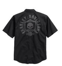Harley-Davidson Skull Shield Shirt Gr. M Herren Hemd schwarz kurzarm