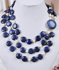 3Rows White Akoya Cultured Pearl & Genuine Coin Lapis Lazuli Jewelry Necklace