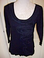 PER UNA M&S BLACK FANCY DETAILED 3/4 SLEEVED TOP  JUMPER SIZE 8 VGC