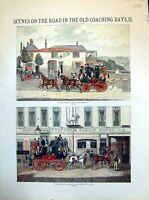 Antique Old Print Highgate Road The Woodman Coach Horses Cambrige Telegraph