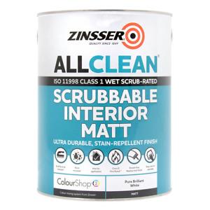 Zinsser AllClean Scrubbable Fire Rated Interior Paint 5L Brilliant White Matt