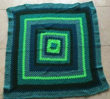 Retro Granny Hand Knitted Patchwork Blanket Crochet Throw Green Teal New