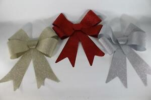 UK-Gardens Red, Champagne Gold Or Silver 51 x 40cm Large Glitter Bow Decoration