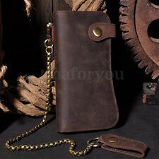 Vintage Mens Long Biker Bifold wallet Leather Cowhide Security chain Purse