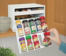 Spice Rack Kitchen Cabinet Counter Organizer 30 Bottles Holder White Plastic New