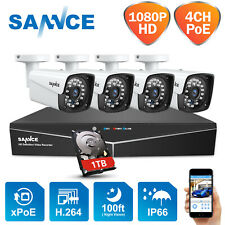 SANNCE HD 1080P 4CH NVR POE Video 2MP Outdoor Security IP Camera System 1TB HDD