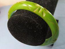 Vintage Olive Green Carved Tested Bakelite Bangle Bracelet