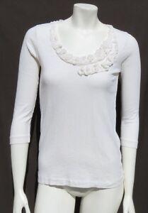 J CREW Women's Ivory 100% Cotton Slub Knit Embellished ¾ Slv T Shirt Top size M