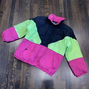 Vtg 80s 90s PACIFIC TRAIL Down Coat Neon retro Apres Ski Jacket Warm MENS MEDIUM