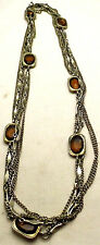 """SARAH COVENTRY 53.5"""" 15mm Necklace w/Rectangle Brown Stones Silver Tone"""