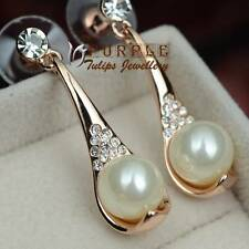 18CT Rose Gold Plated Elegant Pearl Stud Earrings Made With Swarovski Crystal