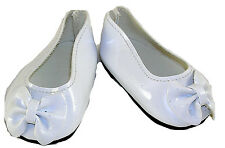White Patent Slip On Bow Dress Shoes Fits 18 inch American Girl Dolls