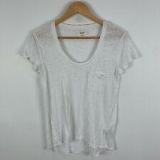 Madewell Womens Linen Shirt Top Small White Short Sleeve Round Neck