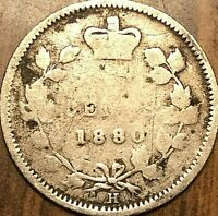 1880H CANADA SILVER 5 CENTS COIN - Obverse #2 variety