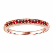 0.15 ct Round Cut Ruby 10k Rose Solid Gold Anniversary Band Ring