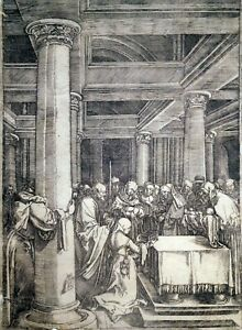 Kupferstich, Präsentation im Tempel, A. Dürer/ M. Raimondi, um 1506, B 631