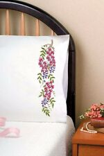 """Tobin Stamped Embroidery kit 20"""" x 30"""" Pillowcases ~ BLEEDING HEARTS #232103"""