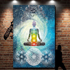 7 Chakra Buddha Wall Hanging Tapestry Indian Blue Tone Bedspread Bedding Ethnic
