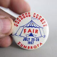 Goodhue County Fair 1957 pinback pin back button Zumbrota MN Minnesota