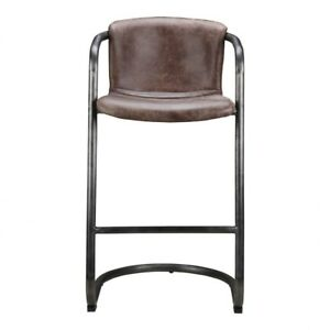 """40"""" T Charlie Bar Stool Distressed Top Grain Leather Industrial Iron Framework"""