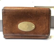 Genuine Pre-loved Natural Veg Tanned Oak Leather Mulberry Plaque French Purse