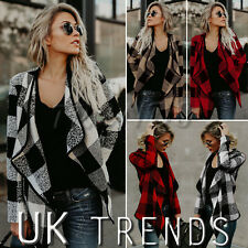 UK Women Waterfall Duster Checked Plaid Christmas Blazer Jacket Coat Ladies 6-14