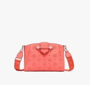 $725 MCM Hot Coral Monogram Leather Small Essential Crossbody Bag MWRASSE06O3001