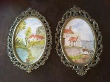 Vintage Antique 2x Small Metal Ornate Oval Picture Frames Original Oil Paintings
