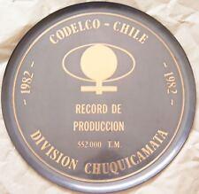 Chile Metal Plate Mining Copper Chuquicamata Codelco 1982 Record Produccion