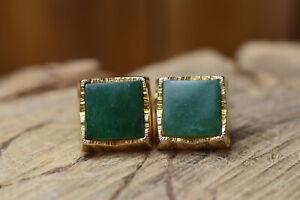 gold tone green agate square cuff links