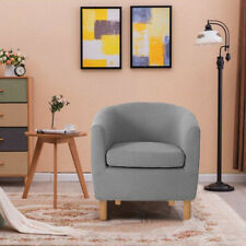 Grey Linen Fabric Tub Chair Armchair Dining Room Lounge Office Cafe Furniture UK