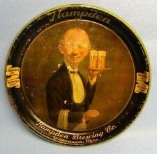 Rare Black Version Vintage 1930'S Hampden Beer Handsome Waiter Tray Sign Ma.