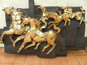FINESSE ORIGINALS AMAZING 70's HUGE WALL SCULPTURE WITH GOLD GALLOPING HORSES