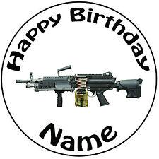 Militar Ejército ametralladora Glaseado Redondo Personalizado Cake Topper-fácil precortadas