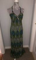 Next Ladies Size 12 Colourful Maxi Dress Blue Green Quirky Unusual Timeless