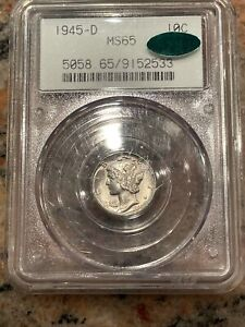 """1945 D Mercury Dime 10C PCGS MS65 """"CAC""""  NO RESERVE! Old Holder! OGH"""