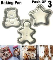 3 PCS BEAR/ MAN / STAR CAKE TIN SET NON STICK SPRING FORM BASE BAKING PAN TRAY
