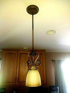 Set 3 Hampton Bay Oil Rubbed Bronze Hanging Kitchen Pendant Lights Glass Shades