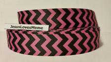 "CLEARANCE Grosgrain Ribbon - 3 Yards $1.47 Pink & Black Chevron, 7/8"" Wide"