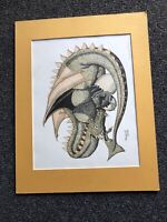 "Signed Dragon Etching By Marguerite Fields 18""x14"""