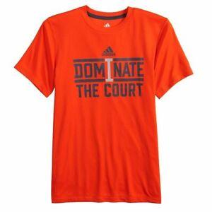 Boy's 8-20 Adidas Dominate the Court Climalite Tee T-Shirt Sizes M, L, XL Orange