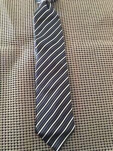 Boys Class Club Black Gray  Team Striped Clip On Tie Pre Owned