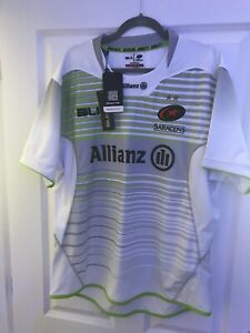 Saracens White And Green Rugby Shirt Xl