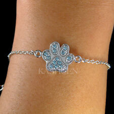 ~Aqua Blue Pawprint made with Swarovski Crystal Paw Print Dog KITTY CAT Bracelet
