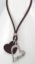 """19"""" Fabulous Brown Leather Heart Stainless Steel Pendant LOVE Necklace HANDMADE"""