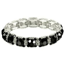 Crystal Bracelet Pave Rhinestones Square Cut Stretch SILVER BLACK Evening